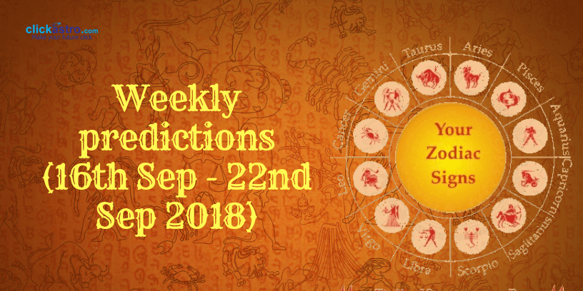 Weekly predictions from 16th September 2018 to 22nd September 2018